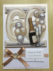 Luxury Hand-Made Diamond (60th) Anniversary Card-Can Be Personalised