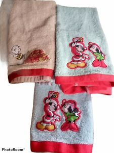 Lot 3 Disney Mickey & Minnie Mouse Peanuts Charlie Brown Hand Towels