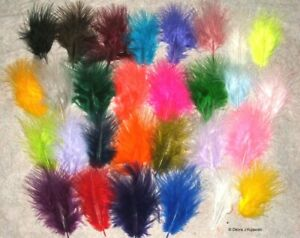 "Marabou Feathers Fluffy 7 grams 1-3""  29 colors available Approx 105 per bag"