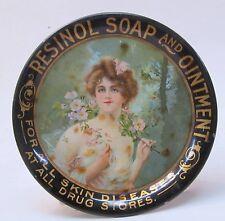 """circa 1910 RESINOL SOAP & OINTMENT Type """"A"""" tin litho tip tray ashtray"""