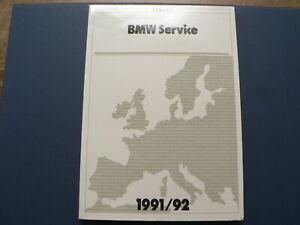 BMW SERVICE EUROPA 1991-1992 BEREITSCHAFTDIENST SERVICE DE PERMANENCE CAR MOTO