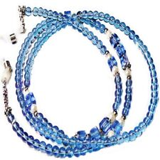 Reading Eye glasses, Sunglasses, spectacle chain lanyard - Soft Blue and White