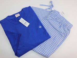 NWT $98 BROOKS BROTHERS Size S Mens S/S Blue Check Cotton Pajama Pant Set