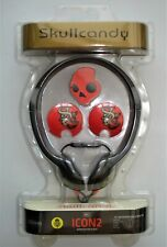 SKULL CANDY ICON 2 HEADPHONES WITH BUILT IN MICROPHONE RED/BLACK NEW SEALED
