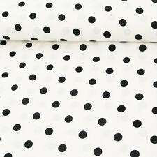 Polyester Points Blanc Noir 1,5m Largeur
