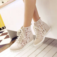 Women Hidden Wedge Heel Lace Mesh High Top Lace Up Ankle Boots Shoes Chic Pumps