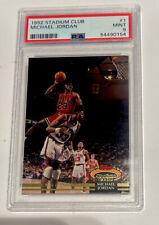PSA 9 MICHAEL JORDAN 1992 Topps Stadium Club #1 Dunk Chicago Bulls.  New Slab!