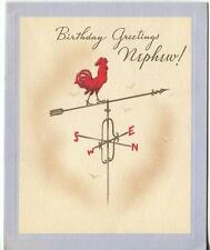 VINTAGE RED ROOSTER WEATHERVANE NORTH EAST SOUTH WEST NEPHEW BDAY GREETING CARD