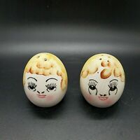 Vintage Anthropomorphic Egg Head Man And Woman Salt and Pepper Shakers Japan