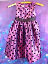 Marmellata Classics Poofy Dress Girls 4 Purple with Velveety Black Polka Dots