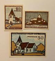 SCHWAAN REUTERGELD NOTGELD 10, 25, 50 PFENNIG 1922 NOTGELDSCHEINE (11911)