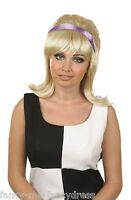 Ladies 1960s 60s Blonde Beehive Wig Retro Fancy Dress Costume Outfit Accessory