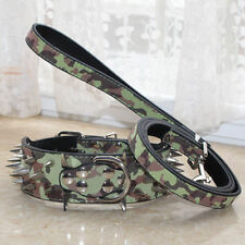 Dog Collars Camouflage Leather Spikes Studded Dog Collar Leash Pit Bull Terrier