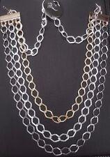 Seine WOW Multi große Link Kette in Silber Schwarz und Gold UK Verkäufer
