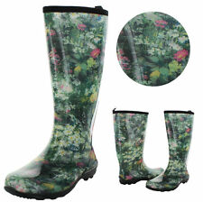 Mid-Calf Pull On Floral Boots for Women