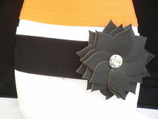 WOMEN ELASTIC HIP HIGH WAIST BIG RHINESTONE BLACK FLOWER FASHION BELT SIZE S M