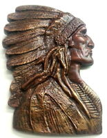 """3 Headed 8/"""" American Indian Native Style Chief Headdress Urn Vase Sculpture"""
