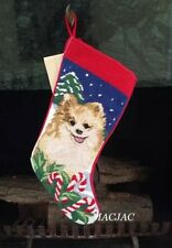 Pomeranian Dog Needlepoint Christmas Stocking NWT