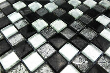 Glasmosaik/Metalloptik silber schwarz mix, 2,3x2,3x0,8cm, 1qm = 11 Tafeln MOSAKO