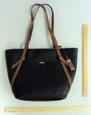 Women's Chaps Large BLACK Hand Bag Purse with Browm Trim