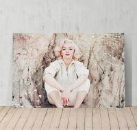 Marilyn Monroe Canvas Print Decorative Modern Wall Art Decor Sitting on Rock