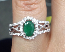 Deal! 1.15 CTW Genuine Natural Emerald & Diamond Ladies Band Ring 14 K Gold