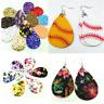 Women's Faux Leather Floral Print Teardrop Dangle Earrings