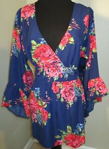 Betsey Johnson Navy Pink Floral Kimono Blouse Waist Bell Sleeves size M EUC