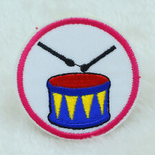2PCS Drum Music Embroidery Applique Iron On/Sew On Patch Cartoon Dress Patches