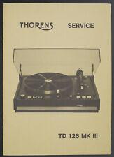 Thorens TD-126 Mkiii Original Tourne-Disque Service Manuel Manuel/Diagram/Pièces