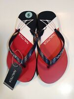 Womens Nautica Flip Flops Sandals Sz 6 Red White Blue