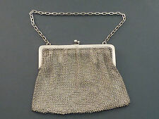 SUPER SOLID SILVER EVENING BAG WITH TWIN COMPARTMENTS AND INTEGRAL PURSE 7 t/oz