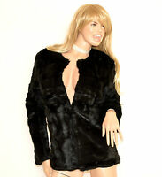 PELLICCIA donna NERA piumino eco giaccone giacca cappotto corto elegante G85