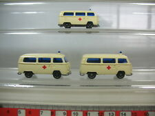 n335-0,5 # 3 x H0 WIKING VOLKSWAGEN VW BULLY T2, DRK Ambulanza