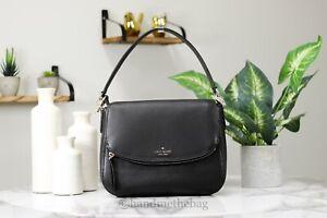 Kate Spade Jackson Black Leather Medium Flap Bag Crossbody Handbag Purse
