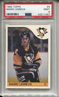 1985 '85 Topps Hockey #9 Mario Lemieux Penguins Rookie Card RC Graded PSA Mint 9