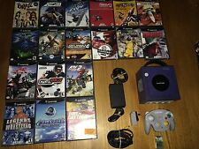 Nintendo GameCube Indigo Purple Console Bundle: Wavebird + 17 Games Works Great!