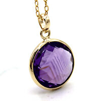 """Natural Round Amethyst Pendant 18k Yellow Gold Pendant With Free 18"""" Chain"""