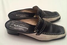 Italy Rangoni Firenze Shoes Size 8.5AA. Black And Cream Open Back