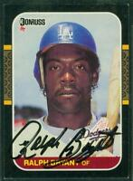 Original Autograph of Ralph Bryant of the Los Angeles Dodgers on a 1987 Donruss