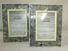TOZAI HOME 4x6 Piazza Picture Frame Handcrafted Crosshatch Pattern (GR) LOT OF 2