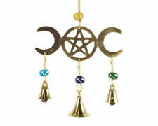 "Triple Moon Pentagram Brass Wicca Pagan Wind Chime with Bells & Beads 9"" Long"