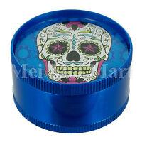 "2"" Candy Skull Grinder Blue 3 Piece Tobacco Herb Spice GR041-CSK"