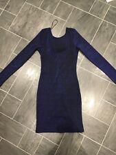 H&M SIZE 8 EUR 34 BLUE/BLACK METALLIC LUREX SPARKLE GLITTER PARTY BODYCON DRESS