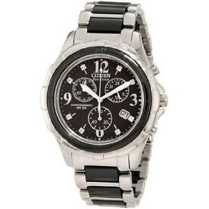 NEW Ladie`s Citizen Eco-Drive FB1241-53E Ceramic Chronograph Stainless Steel