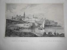 1830 Litografia Cuciniello Bianchi Veduta città di Monopoli Puglia Bari