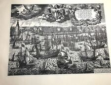 Etching Zeeman Scriverius Vintage Viking Ship Netherlands Holland Dutch Maritime