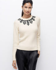 Ann Taylor Petites SP Winter White Embellished Midnight Flake Sweater $119 (14)