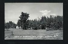 Couderay Wisconsin WI 1950 RPPC Blueberry Lake Resort, Row of Log Cabins, Car