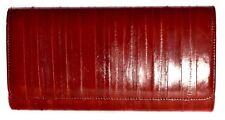 Lee Sands Medium Red Eelskin Flap Front Clutch Purse